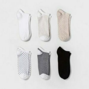 A New Day 6pk Novelty Low Cut Socks Shoe Sz 4-10